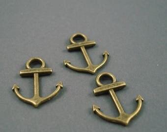 Destash Bronze Anchor Charms, Three Pieces