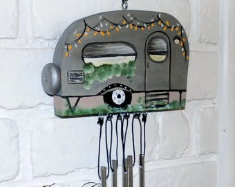 Silver Wind Chime-Travel Trailer-OOAK-Hand Crafted Wood Camper-Indoor/Outdoor Hand Painted-Made in the USA-(HCWC-TT0004)