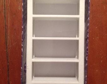Miniature dollhouse  White wooden bookcase