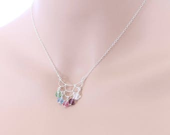 Mother's Necklace, Birthstone Necklace, 5 Birthstones, Grandmother Necklace, Sterling Silver, Mother's Day, Mom Necklace, Mom Jewelry