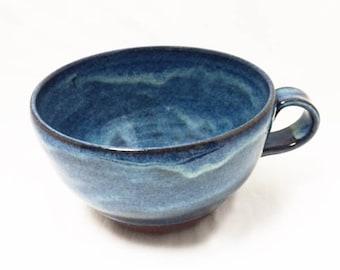 Blue Ceramic Mug, Ceramic Coffee Cup in Terra Cotta and Blue, Ceramic Tea Cup, Ceramic Hot Chocolate and Cappuccino Mug in Dark Blue