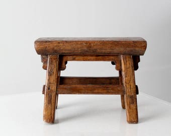 antique Chinese low stool, small wooden riser