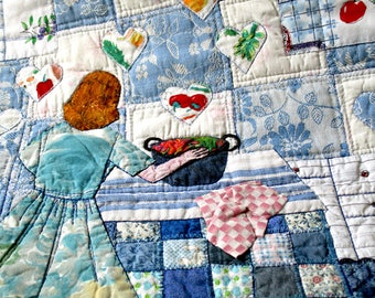 Woman cooking in blue kitchen contemporary textile art with vintage feel