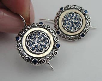 Earrings, Blue topaz  Handmade 9K yellow , 9k Gold Sterling Silver Gift,Vintage earring blue stone earrings, Dangle Round Earrings (ms 1209e