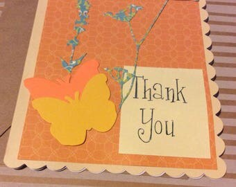 Thank you greetings card handmade greeting card butterfly and flowers