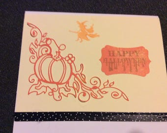 Happy  Halloween greetings card, handmade card, hand stamped, pumpkin with vines cutout, orange witch broom