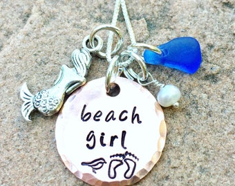 Beach Girl Necklace, Sea Glass Necklace, Personalized Hand Stamped Necklace, Beach Jewelry, Hawaiian Style Jewelry