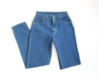 Vintage Womens Size 8 Lee USA Denim Jeans Pants Dungarees High Waisted Tapered Mom Jeans Classic 90s Style Hipster Fashion Festival