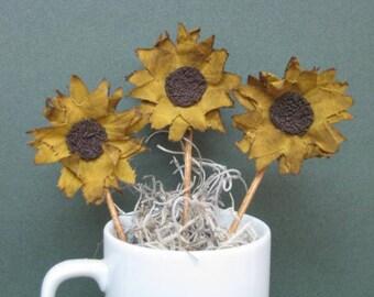 Primitive Mini Sunflower Plant Pokes - Set of  3 - Country Primitive - Grungy Fabric Small Sunflowers - Mini Crock Poke - Summer/Fall Decor