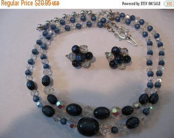 SPECIAL SALE Vintage Blue Moonglow and Crystal AB Beaded Adjustable Necklace and clip earrings Set