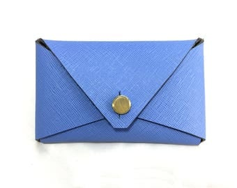 READY TO SHIP: Envelope Card Case - Saffiano Leather (Cornflower Blue)