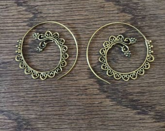 Spiral Earrings- Gypsy Spirals- Festival Earrings- Brass Jewelry