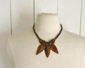 34% Off Sale - Arrow Bead Necklace 1970s Brown Wooden Tribal Hippie Boho Vintage Bib Necklace