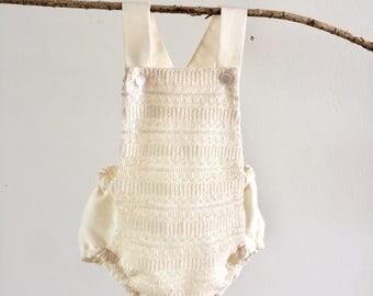 Boho Cream Lace Baby Girl Playsuit Romper Bodysuit