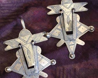 Old Large Tuareg Cross Earrings, Niger