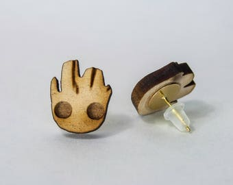 Guardians of the Galaxy Baby Groot Wood Earrings