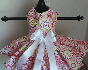 Dog Dress Pink circles