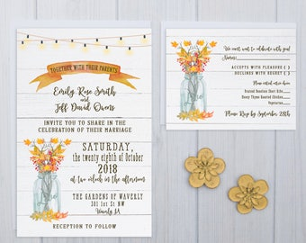 Fall Wedding Invitations | Custom Rustic Invite Set | Shiplap Wedding Invitation Suite | Rustic Wood Invites | Autumn Theme Invite