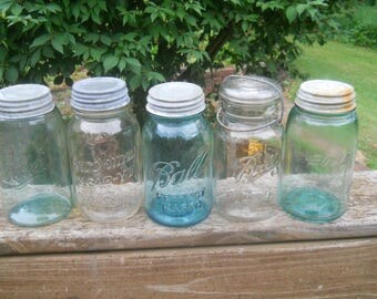 Mixed Lot of 5 Vtg Blue & Clear Canning Jars w/Zinc Lids or Wire Bails-Ball Mason/Brockway Clear Vu Mason/Ball Ideal/Boyd Perfect Mason