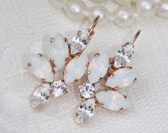 NEW Swarovski White Opal Marquise Navette Earrings,ROSE GOLD Marquise Drop,Bridal,Weddings,Crystal Lever Back,Cluster Style Earrings,Gift
