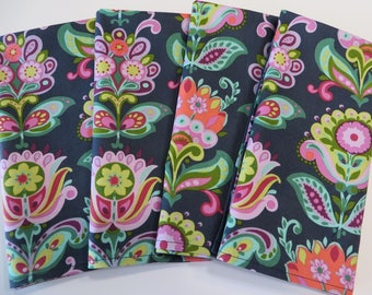 Cloth Dinner Napkins Large Flowers, set of 4, Blue and colorful floral print, AmyButler Napkins, Large Cloth Napkins, Handmade Cloth Napkins