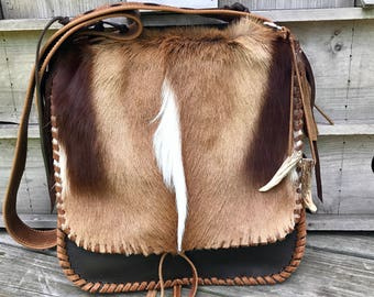 Reserved for Bianca **** 1/2 deposit **Springbok deer and rustic leather messenger bag