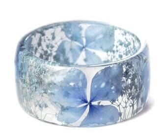Blue Flower Jewelry - Real Flower Jewelry - Blue Bracelet- Blue Bangle- Blue Flower Jewelry- Resin Jewelry- Flower Bangle- Blue Bracelet