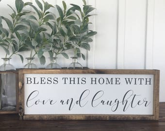 Bless This Home with Love and Laughter, Wood sign, Painted wood sign, Home decor, Farmhouse style, Farmhouse wall decor, Painted sign, Sign