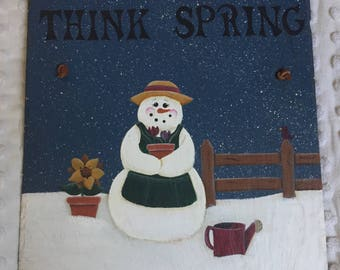 Think Spring Painted Snowman Slate Door Hanger, Garden Snow Lady Sign, Ready To Ship