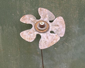 steampunk flower Tall Metal Flower Art Floor Vase Filler Entryway Porch Industrial Office Decor Upcycled indoor flower stake gardener gift