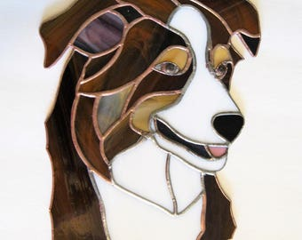 "Custom Made Stained Glass Dog Portrait -8 x 10""- from your photo- Made to Order"