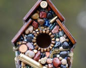 gift for him, Recycled Bullet Shell, Birdhouse for Hunters, from Oregon, mosaic birdhouse, man cave decor, guns, firearms, outdoor decor