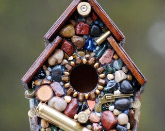 gift for him,Recycled Bullet Shell,Birdhouse,for Hunters,from Oregon,mosaic birdhouse,man cave decor,guns,firearms,outdoor decor,ooak