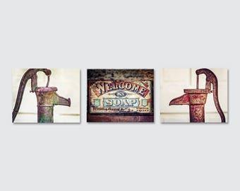 Primitive Country Decor, Red Rustic Bathroom Decor, Red Rustic Laundry Room Decor, Farmhouse Bathroom Art, Farmhouse Laundry Room Art, Blue.