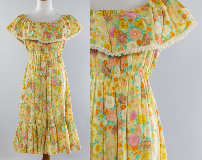 Vintage Floral Dress Off the Shoulder Ruffle Frock | Yellow Floral Festival Cotton Dress | Size Large XL