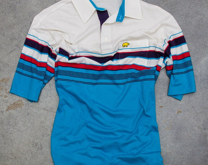 Striped Men's Shirt Vintage Golden Bear Size Large Short Sleeve Polo Jack Nicklaus Brand Teal Coral Red White Bright Colorful Mens 7W