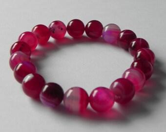 Fuchsia pink agate gemstone stretch bracelet.