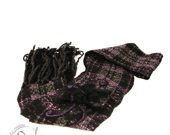 Long scarf, woman scarf, fall and winter scarf, wool scarf, violet,grey and  black  scarf