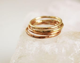 14K gold filled hammered band ring, thin stackable band ring, minimal delicate jewelry