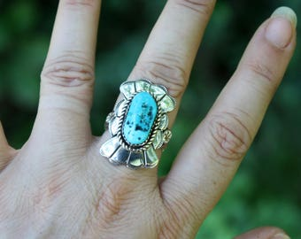 Native American Turquoise Ring - Navajo Ring - Vintage Ring - Chunky Turquoise - Solid Sterling Silver - Sky Stone - December Birthstone -