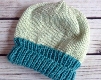 Blue Child Slouchy Hat, Knit Child Hat, Back To School Hat, Winter Child Hat, Blue Slouch, Knitted Hat, Cute Child Hat