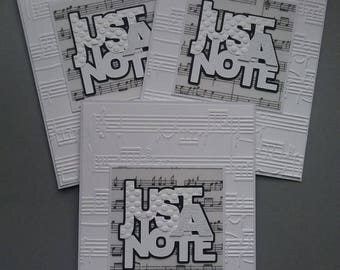 Set of 3 Note Cards * Blank * Any Occasion * Music Themed