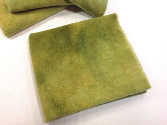 Fat 1/4 yard, Chartreuse Hand Dyed Wool Fabric, W423, Rug Hooking Wool, Applique Wool, Lime Green Mottled Wool Fabric