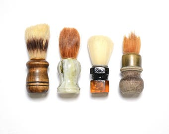 vintage 50s 60s shaving brush badger brush bakelite wood lucite handle 1950 1960 men grooming beard mustache set of 4