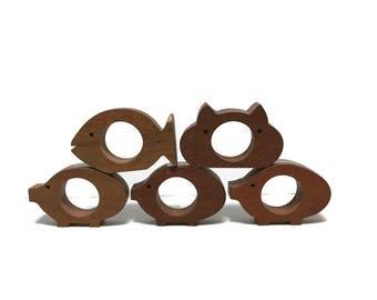 5pc Teak Wood Modernist Animal Napkin Rings 1985 pig, koala bear, fish