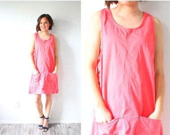 20% OFF JULY 4th SALE Vintage pink jumper dress // overall jumper dress // tight pink pocket dress // spring summer jumper dress // summer s