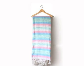 40% OFF CHRISTMAS in JULY Vintage cozy picnic blanket // southwestern blue pink pastel blanket // Mexican blanket navajo festival // bohemia