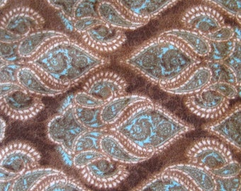Brown Turquoise Flannel Fabric