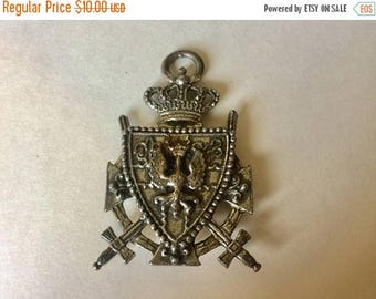 SUMMER SALE Salvaged Vintage Ornate Large Dark Silver Metal with Sword Crown Knight  and Crest Pendant Double Sided