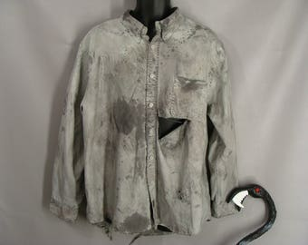 Men's Zombie Werewolf or Vampire Shirt. OPTIONAL BLOOD. Custom Made Halloween Costume. The Walking Dead Costume. Post Apocalyptic. size XL